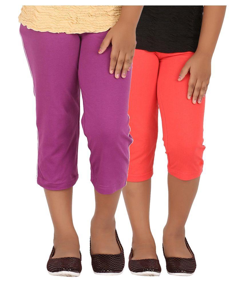 Minnow Multicolor Cotton Capris - Pack of 2