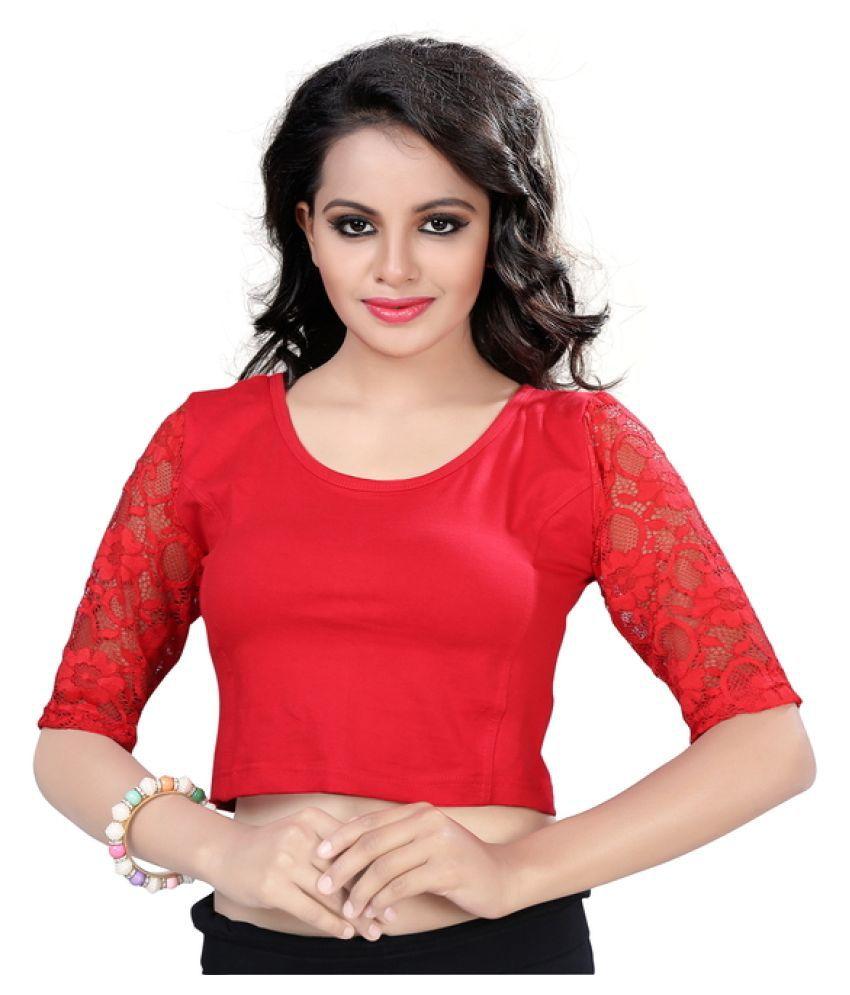 Fressia Fabrics Red Cotton Blouses