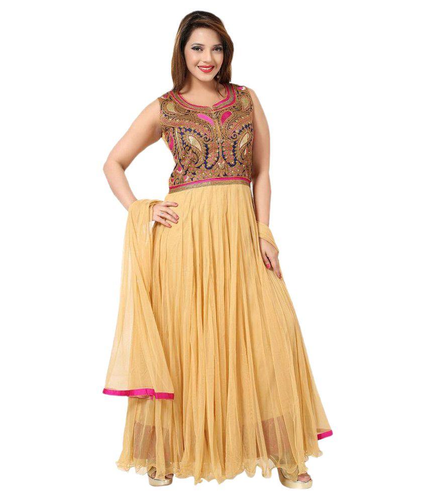 PC Chandan Creation Beige Net Anarkali Salwar Suit