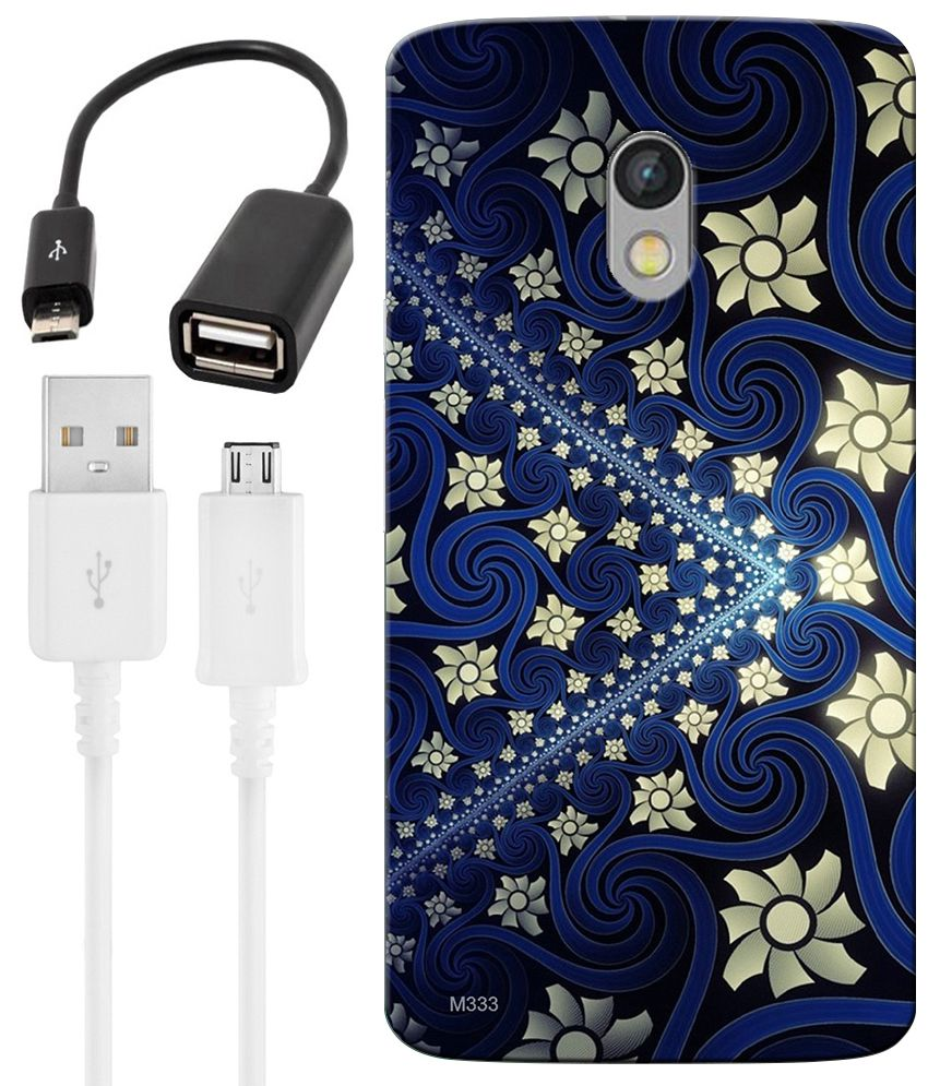 FineArts Combo of Blue Floral Art HD UV Printed Mobile Back Cover, Charging Cable and OTG Cable For Motorola Moto X Play