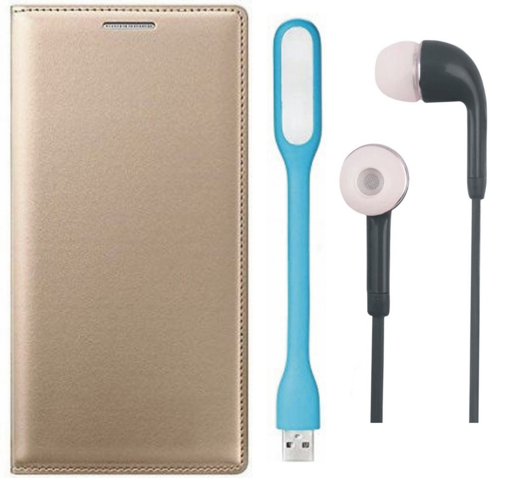 Matrix Flip Cover for Micromax Canvas Selfie 4 Q349 with Earphones and LED Light