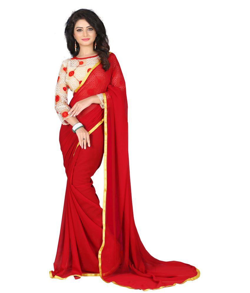 Shivanya Fashion Red Chiffon Saree