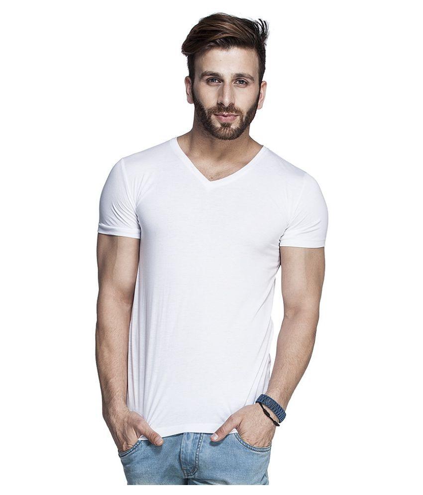 Tripr White V-Neck T-Shirt