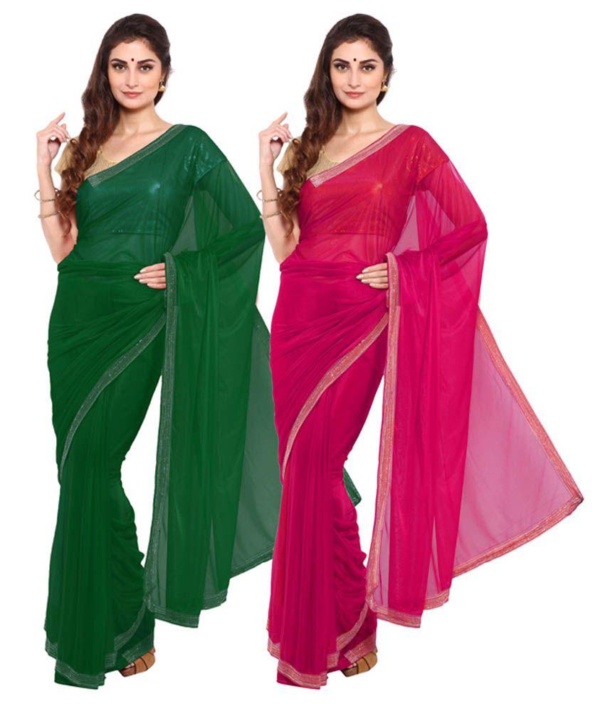 Aryahi Green Net Saree Combos
