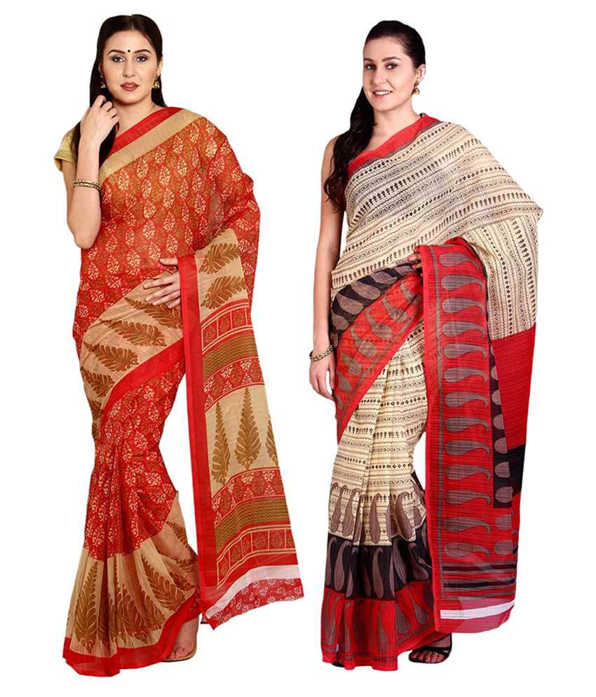 Aryahi Red Cotton Saree Combos