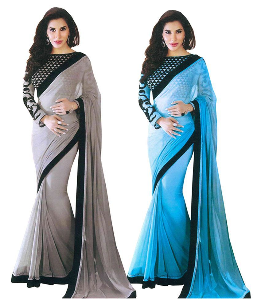 Parchayee Blue Georgette Saree Combos