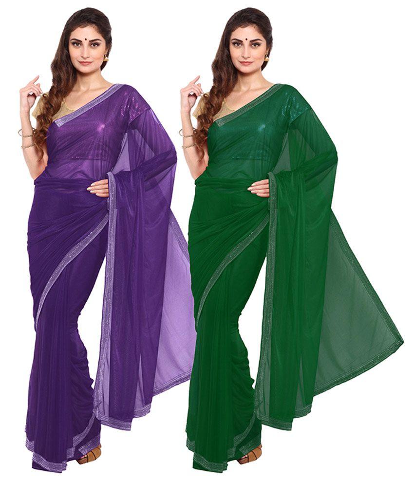 Parchayee Purple Net Saree Combos