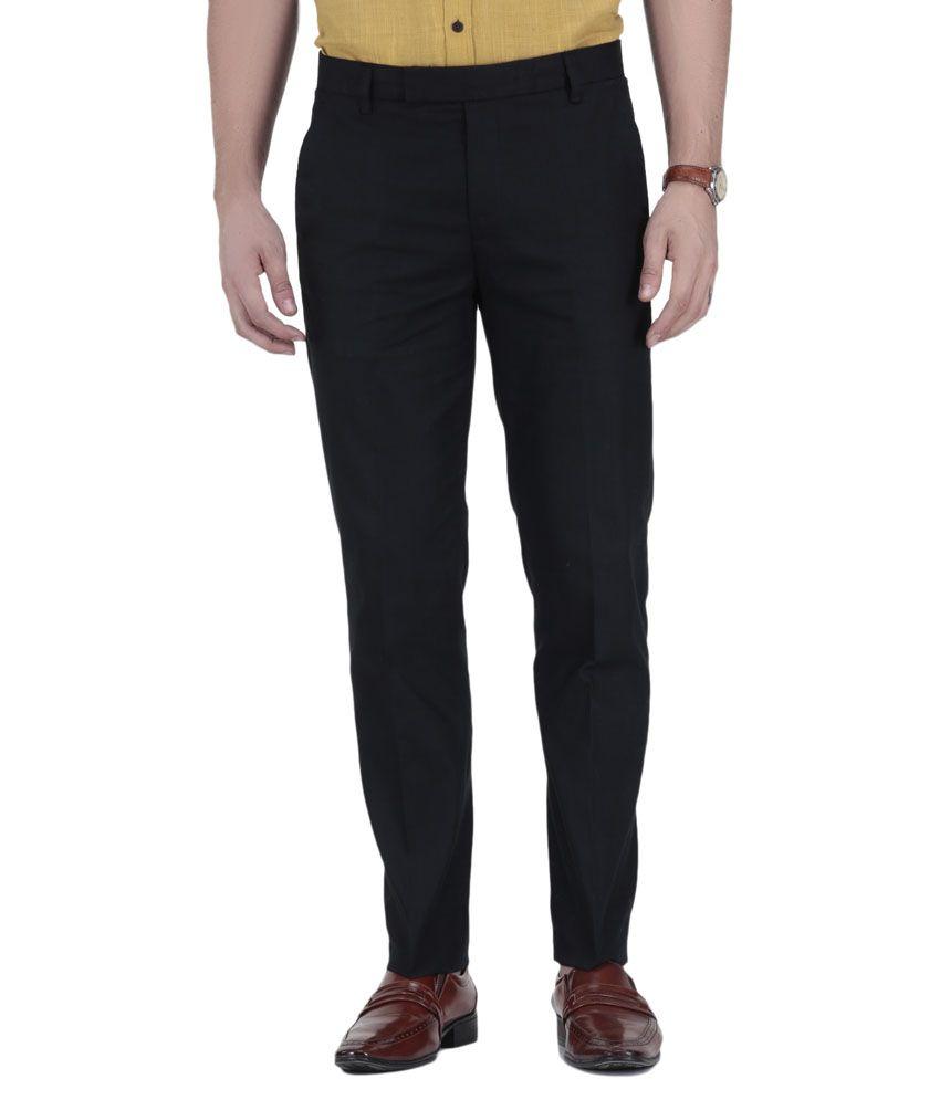 Wodaro Black Linen Slim Flat Trouser