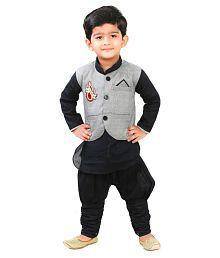 Ftcbazar Black and Gray Silk Indo Western
