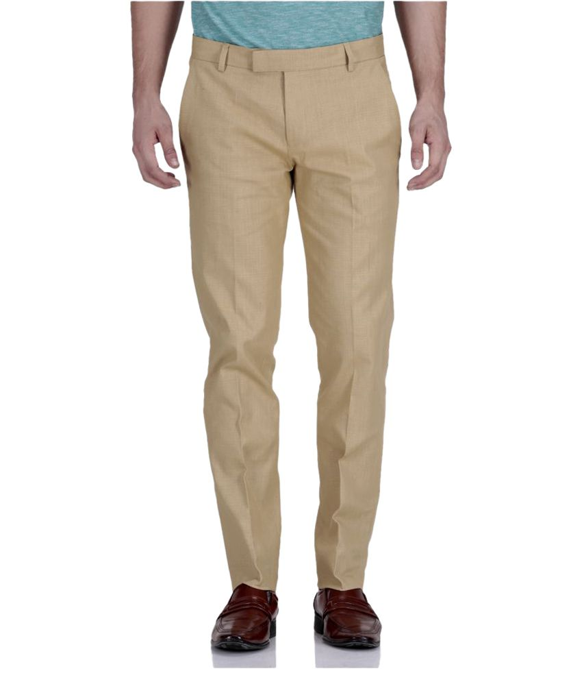 Wodaro Beige Slim Fit Flat Trouser