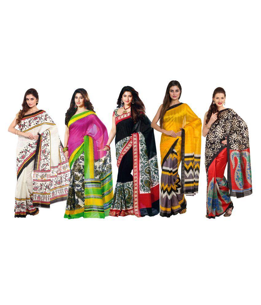 Satrang Multicoloured Bhagalpuri Silk Saree Combos