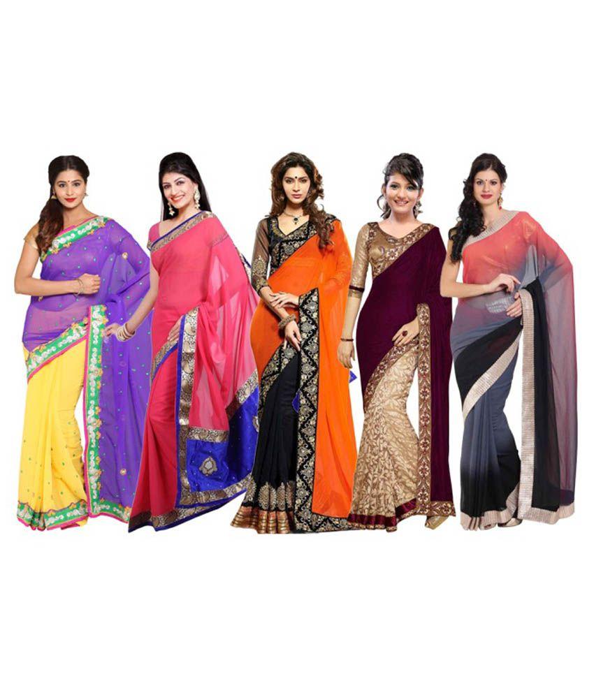 Satrang Multicoloured Velvet Saree Combos