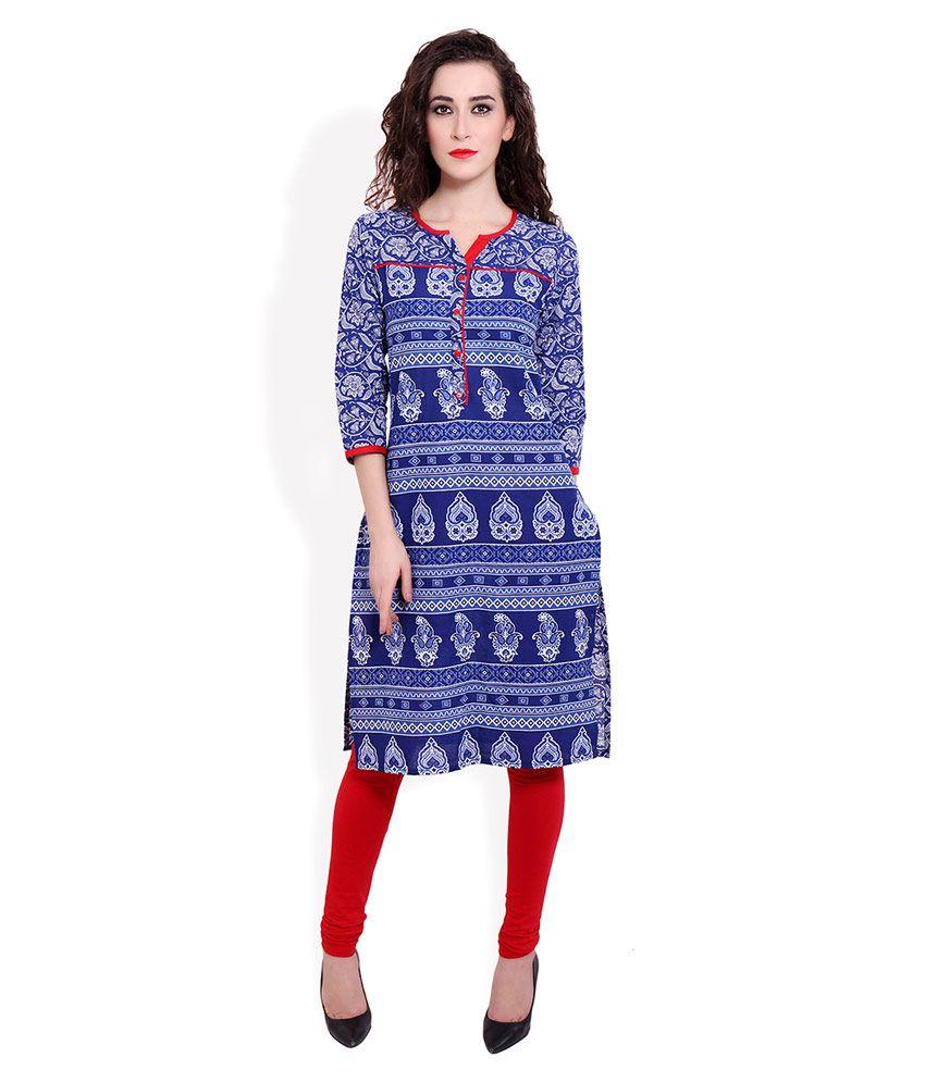 Vasudha Blue Cotton Straight Kurti