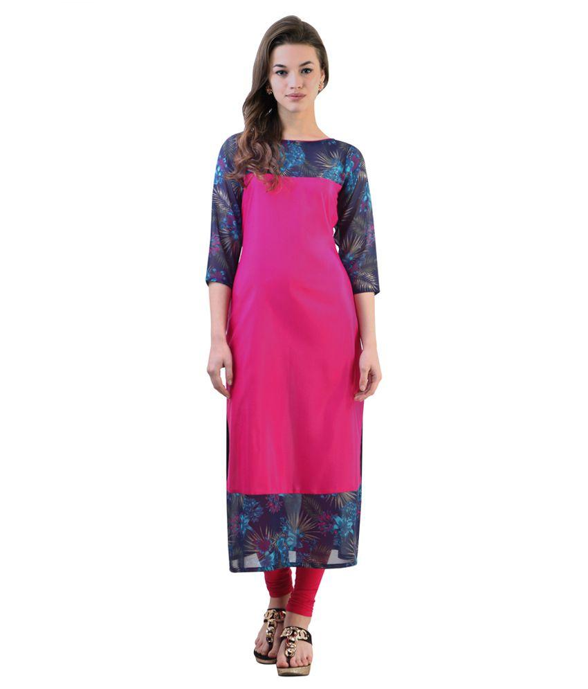 2de4b5921 Libas Pink   Navy Blue Printed Kurta - Buy Libas Pink   Navy Blue Printed  Kurta Online at Best Prices in India on Snapdeal