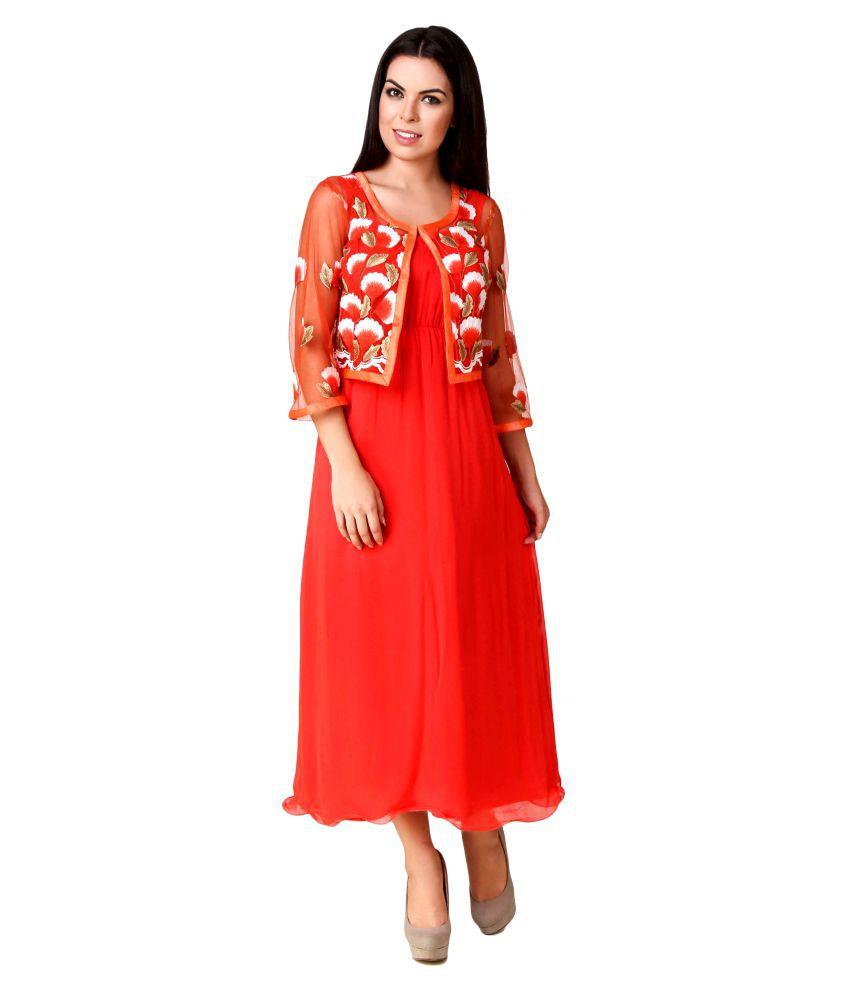 Svea Orange Poly Georgette Dresses