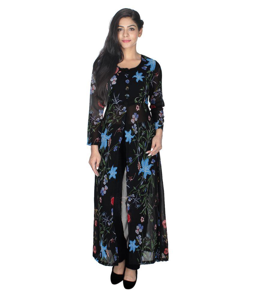 Maruti Creation Multicoloured Georgette Front Slit Kurti