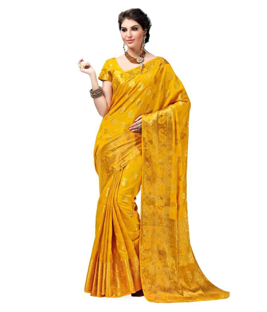 76ce2ff107b Ashika Yellow Tussar Silk Saree - Buy Ashika Yellow Tussar Silk Saree  Online at Low Price - Snapdeal.com