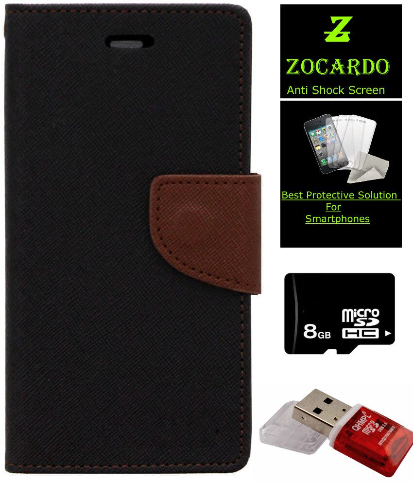 Electronics Zocardo Fancy Diary Michaelieclark Goospery Samsung Galaxy Grand Prime Canvas Case Green Wallet Flip Cover For Micromax Selfie 2 Q340 Black