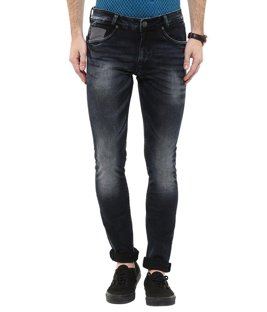 Mufti Black Skinny Fit Faded Jeans