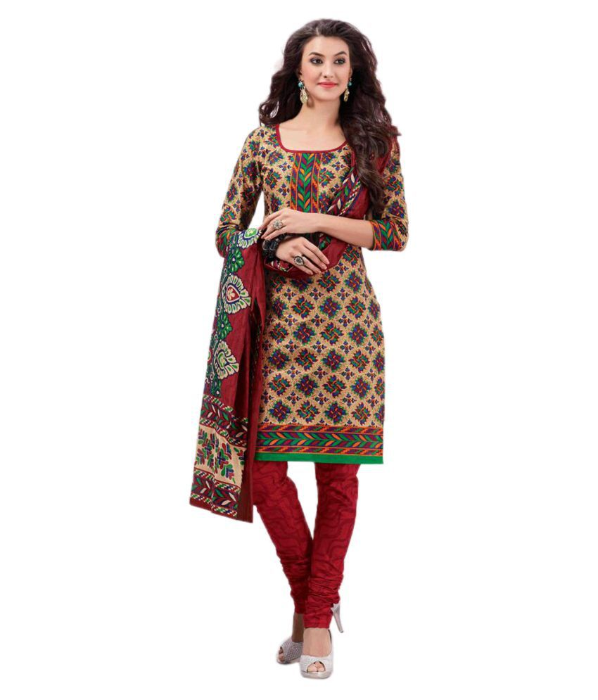 Drapes Multicoloured Cotton Straight Unstitched Dress Material