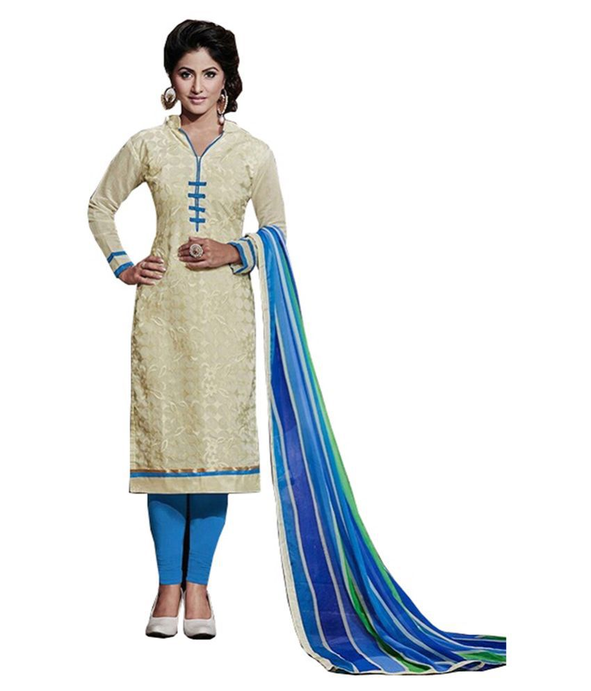 Fabvila Beige Chanderi Straight Unstitched Dress Material