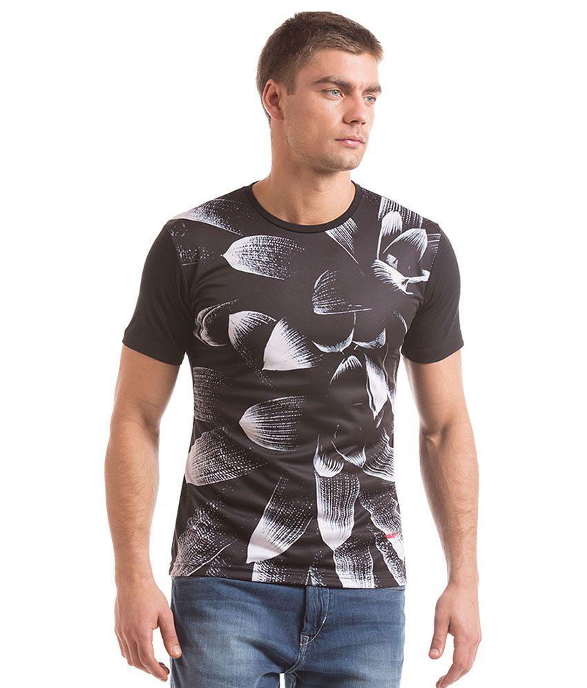 Flying Machine Black Round Neck T Shirt