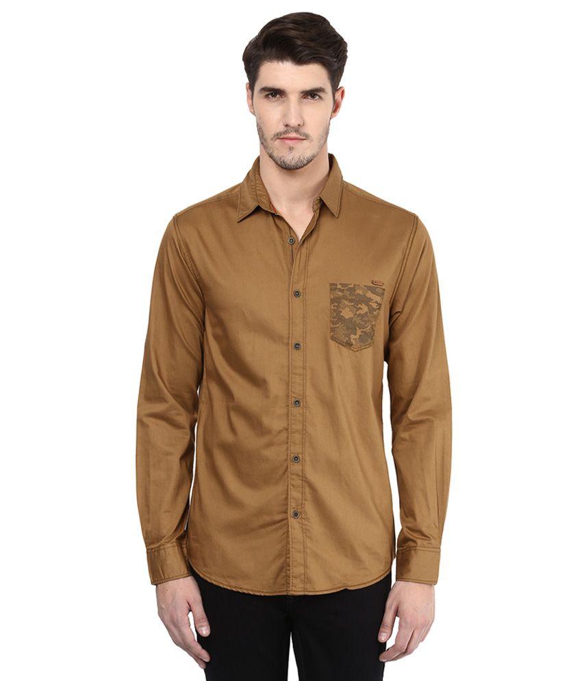 Mufti Khaki Slim Fit Shirt