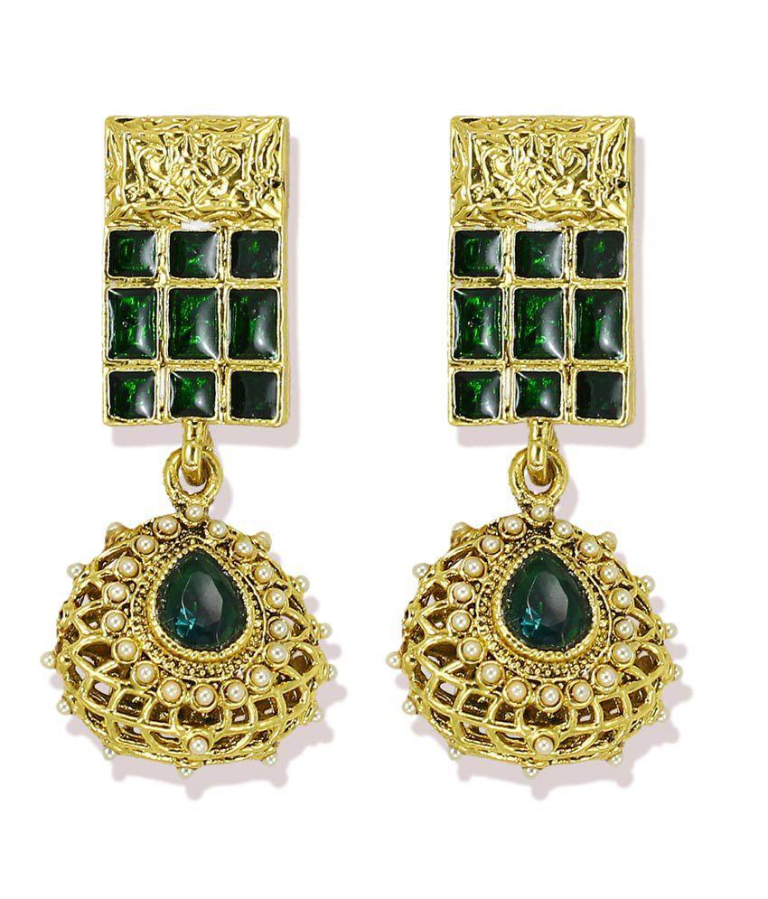Zaveri Pearls Multicolor Hanging Earrings