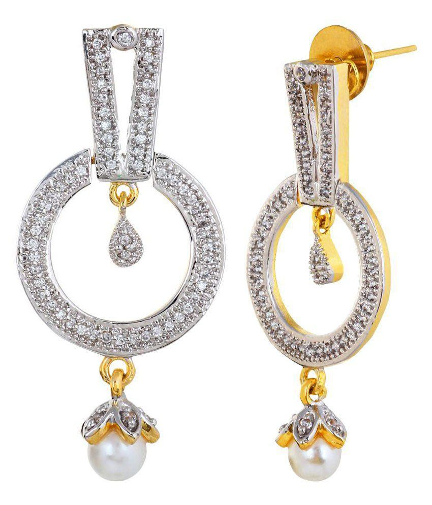 AVS Diamonds Cubiz Zirconia Studded Golden Earrings