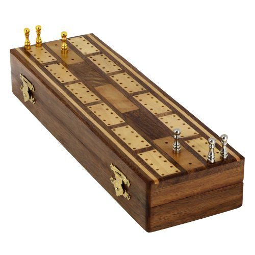 Game Cribbage boards Set, 2 Decks of Cards, 6 Metal Pegs