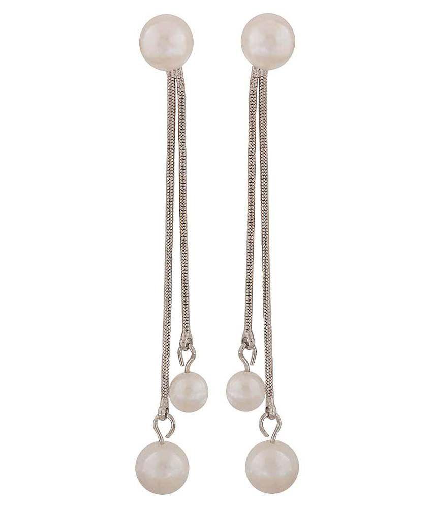 Maayra White Hanging Earrings