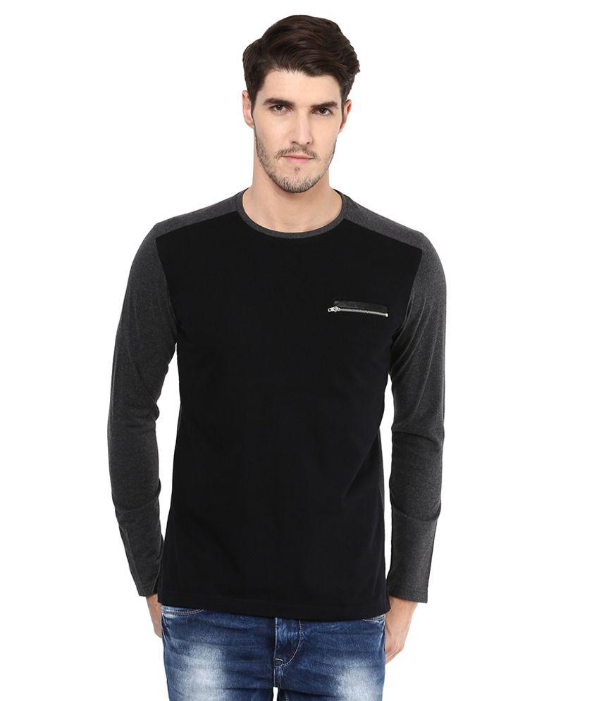 Mufti Black Solid Slim Fit T-Shirt