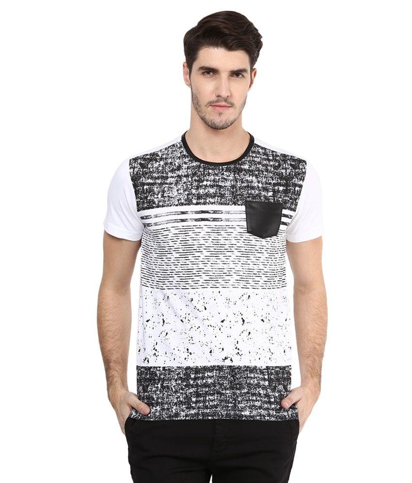 Mufti White Printed Slim Fit T-Shirt