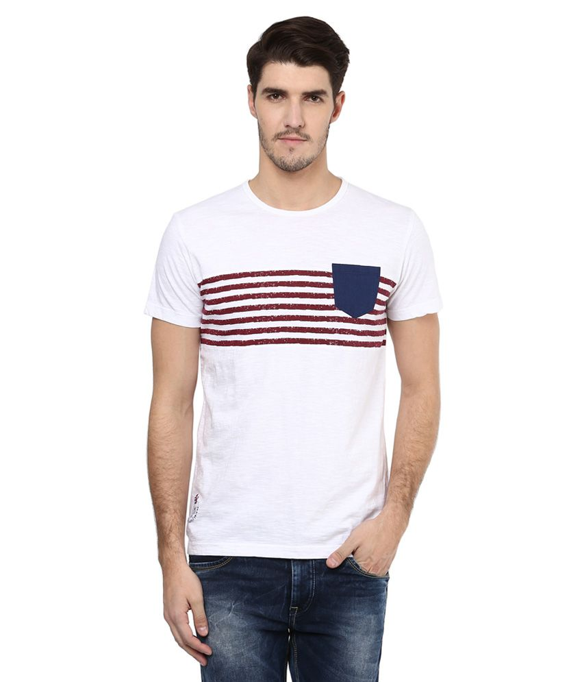 Mufti White Striped Slim Fit T-Shirt