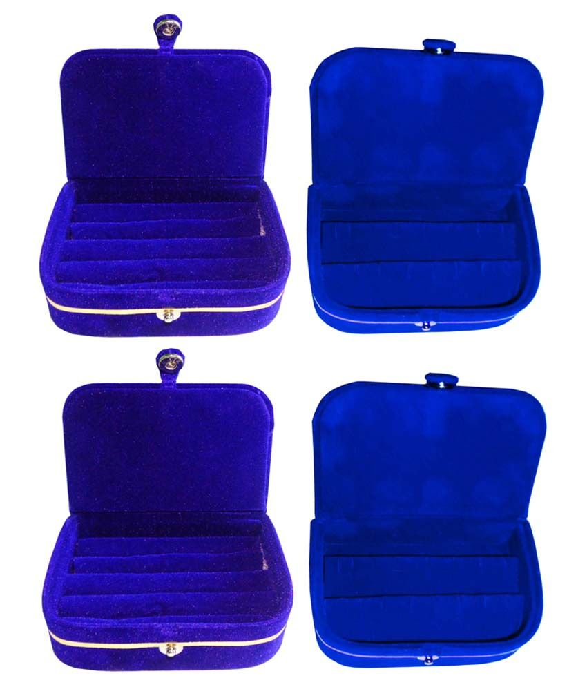 Abhinidi Combo of Blue Two Earrings and Two Ring Boxes