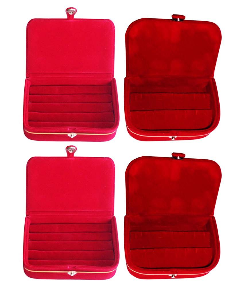 Abhinidi Combo of Red Two Earrings and Two Ring Boxes
