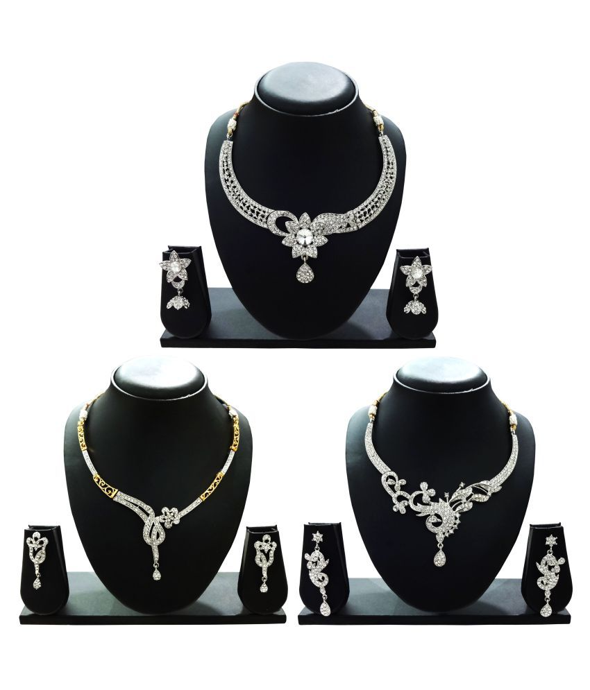 Arts Chetan Silver Necklace Set - Set of 3