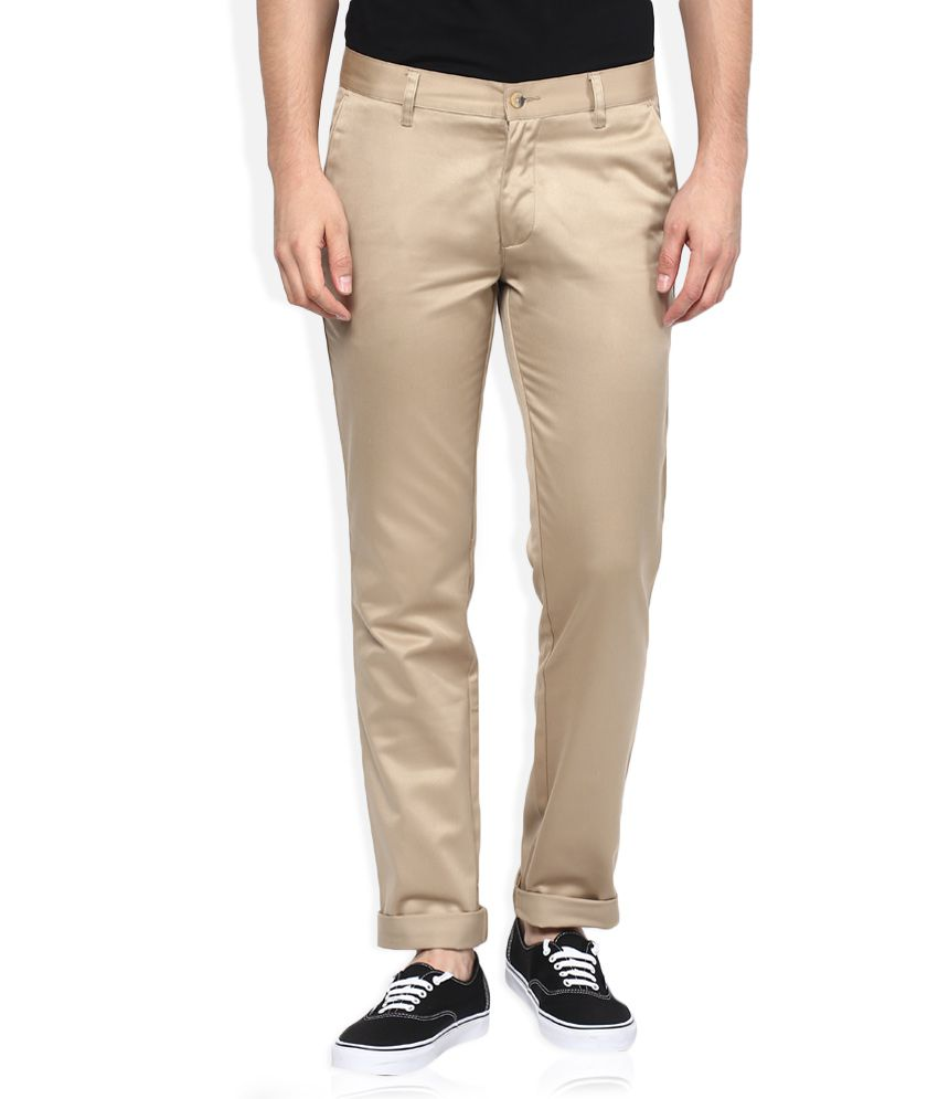 John Players Beige Slim Fit Casual Trousers