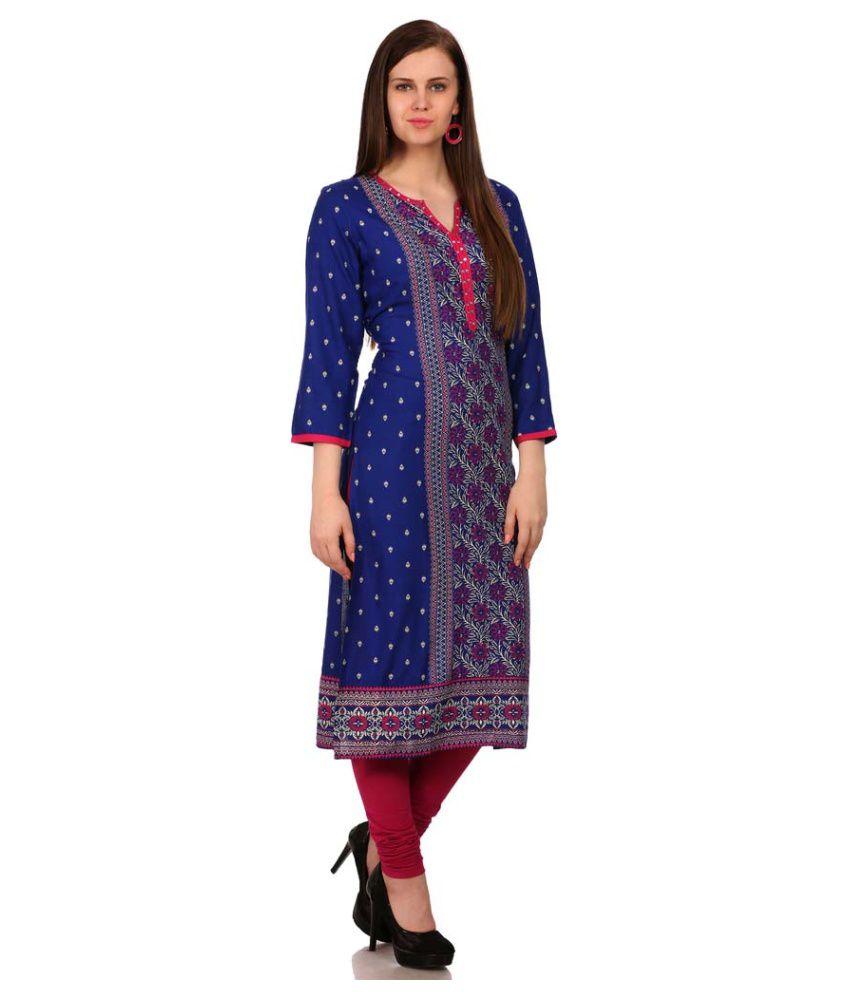 1b5479cf31 Sabhyata Blue Cotton Straight Kurti Sabhyata Blue Cotton Straight Kurti ...