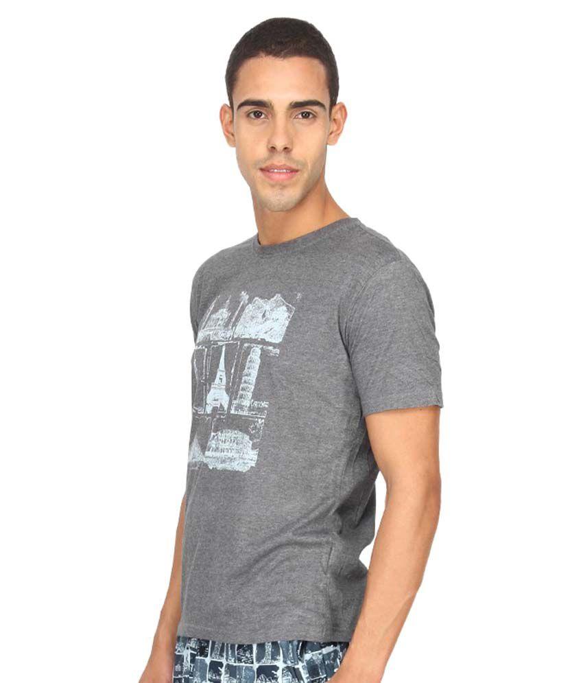 Nuteez Grey Round T-Shirt