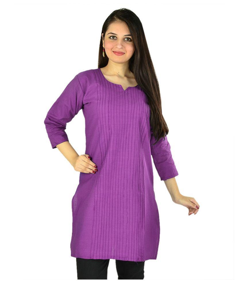 Fastvilla Purple Cotton Straight Kurti