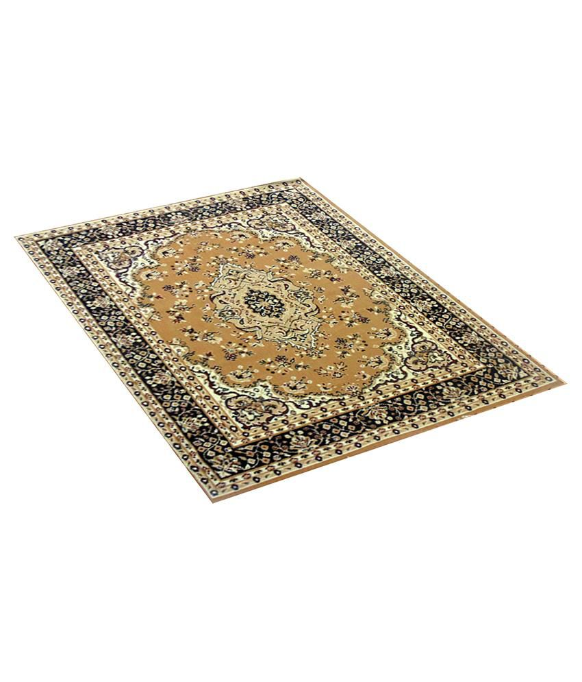 Furnishingland Gold Wool Carpet Ethnic 4x6 Ft.