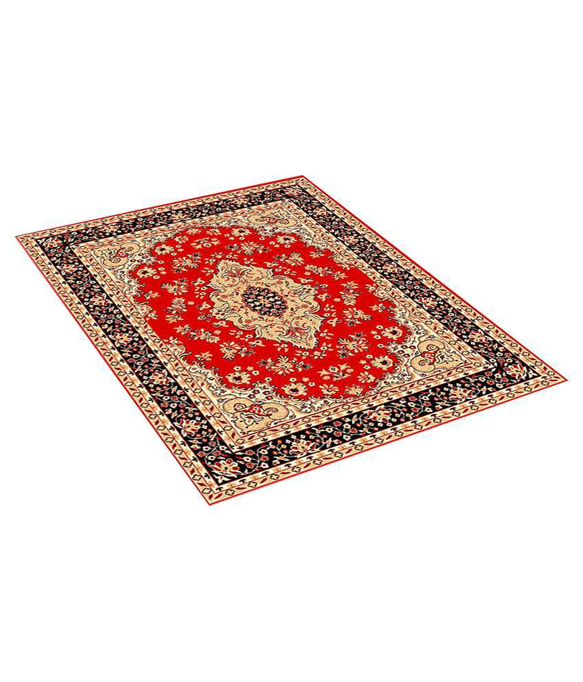 Furnishingland Red Wool Carpet Ethnic 4x6 Ft.