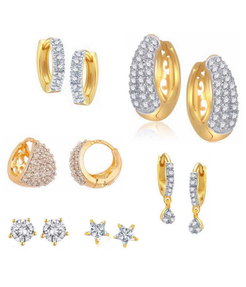 Archi Collection Alloy Gold Plated American Diamond Studded Earring Combo - Set of 6 Pairs