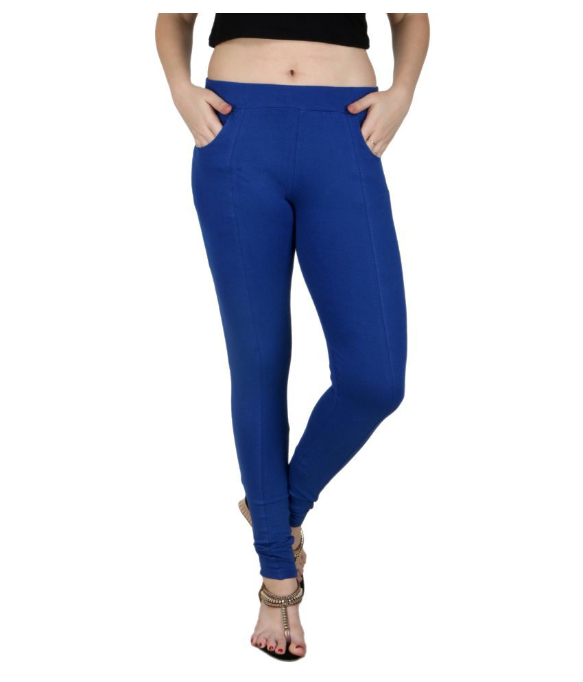 Faded Finch Blue Cotton Lycra Jeggings