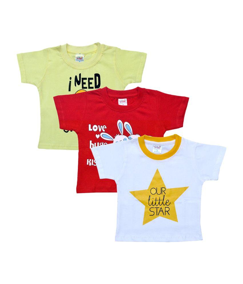 Little Stars Multicolour Infant Boy's T-Shirt (Pack of 3)