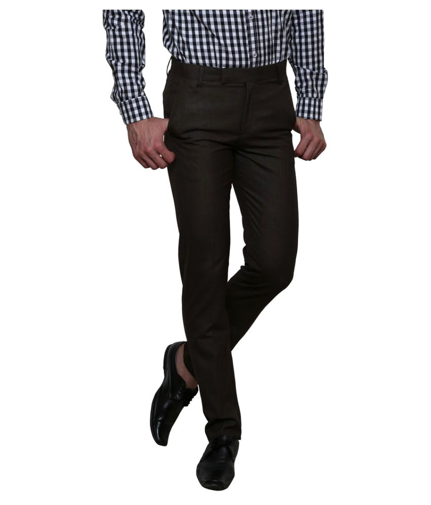 Routeen Brown Slim Flat Trousers