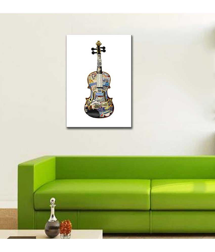 Tallenge Painting Of A Violin Thats Been Places Canvas Art Prints With Frame Single Piece