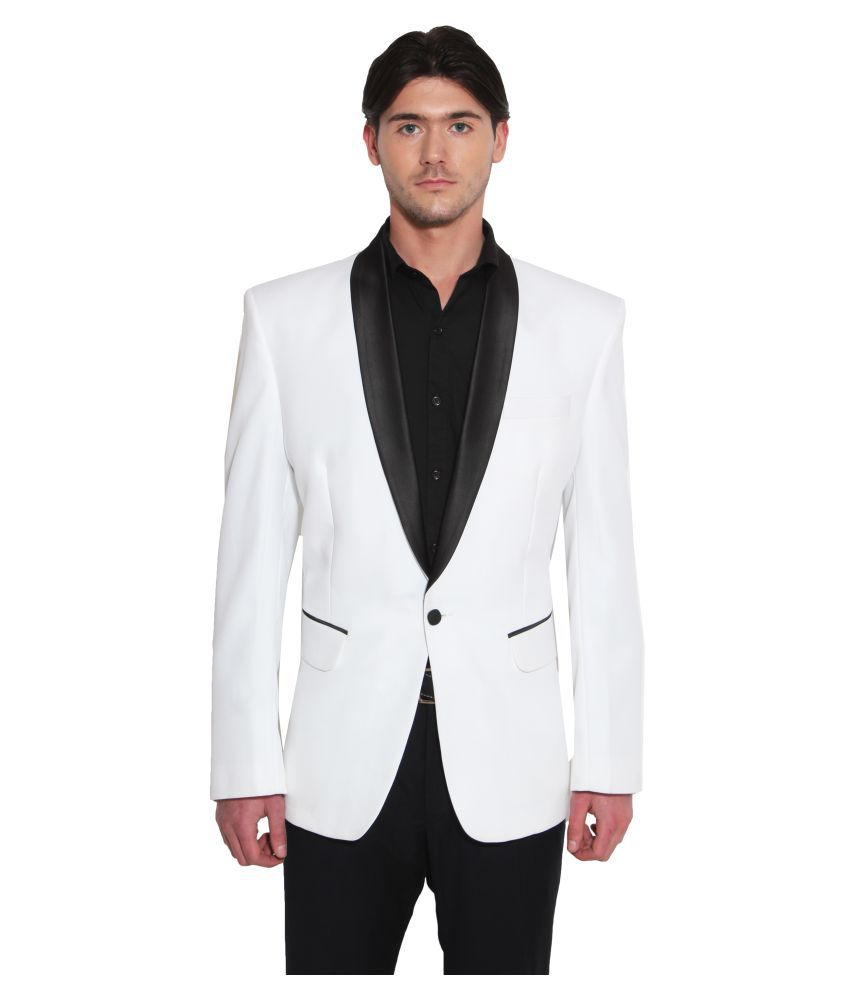 Favoroski White Solid Party Blazers