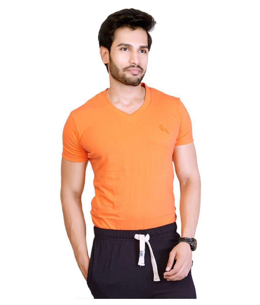 LUCFashion Orange V-Neck T-Shirt